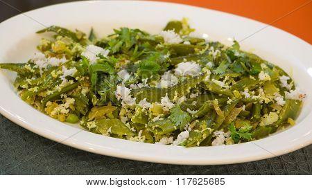 Val Papdi Bhaji Or Flat Green Beans Sabji From Goa.