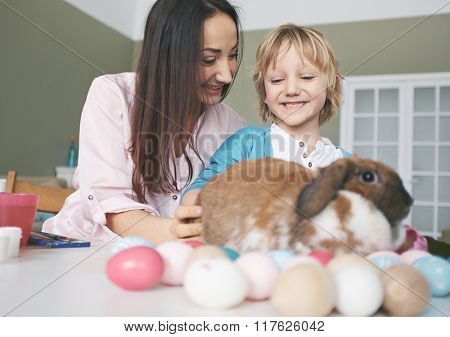 Playing with Easter rabbit