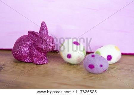 Purple Bunny With Easter Eggs