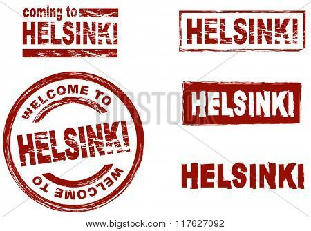 Set of stylized ink stamps showing the city of Helsinki