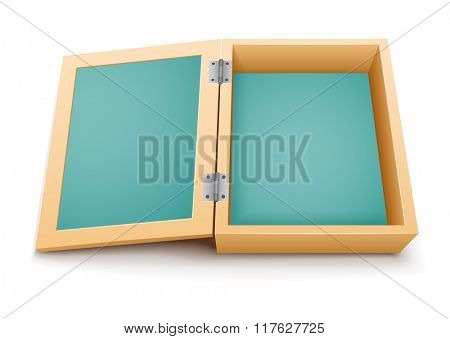 Open wooden box vector. Vector illustration. Isolated on white background. Transparent objects used for lights and shadows drawing