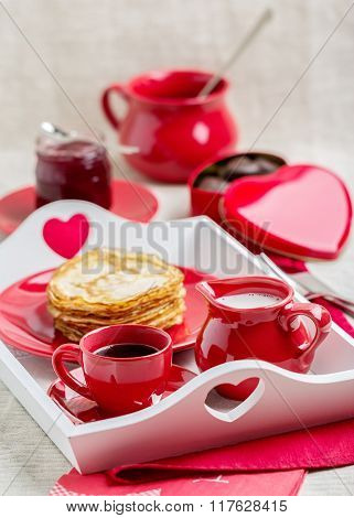 Breakfast. Pancakes And Coffee With Milk On A Tray For Valentine's Day.