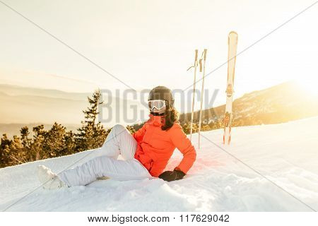 Young Woman Enjoying The View From Mountain Slopes, Relaxing