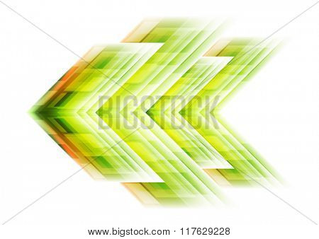 Green arrow tech background. Vector template graphic design