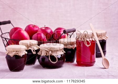 Preserved Homemade Fruits And Berries Jam In The Jar. Rustic Style.