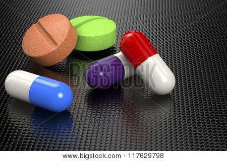 3D rendering of pills and capsules