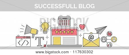 Flat Vector Thin Line Scribble Header Banner Illustration Of How To Establish A Successful 5 Star Bl