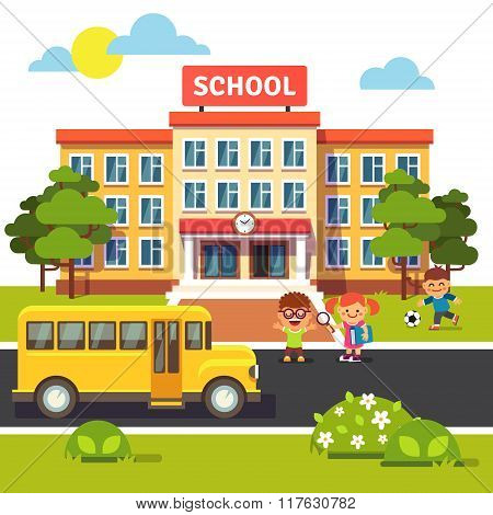 School building, bus with students children