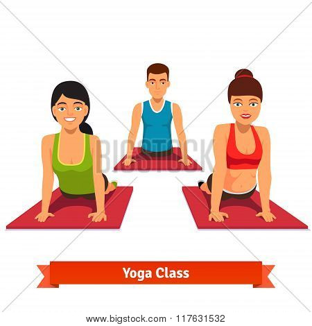 Yoga class workout. Young and healthy people