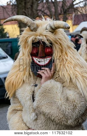 Mohacs, Hungary - February 07: Unidentified People In Mask At The Mohacsi Busojaras. It Is An Annual