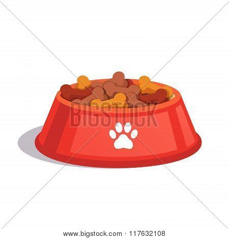 Dog dry food bowl. Bone shaped crisps