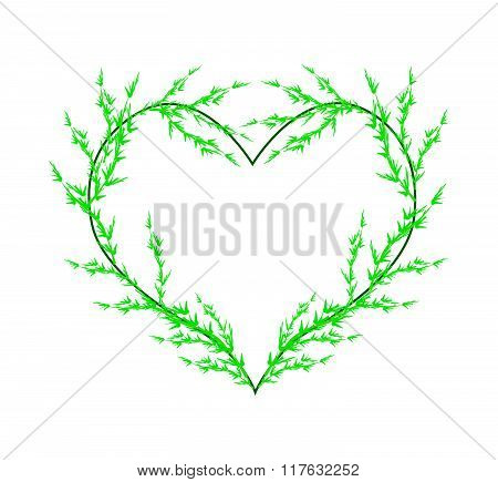 Fresh Green Leafy Leaves In A Heart Shape