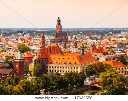 Aerial view of Wroclaw hitorical city cetre