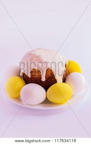 Easter Cake And Easter Eggs  On A White Background. Selective Focus.