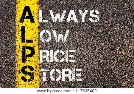 Business Acronym Alps Always Low Price Store