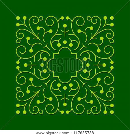 Abstract floral frame. Green pattern with swirls