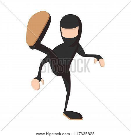 Ninja kicking cartoon icon
