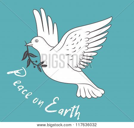 White Dove In Flight Holding An Olive Branch On Blue Background And With Text