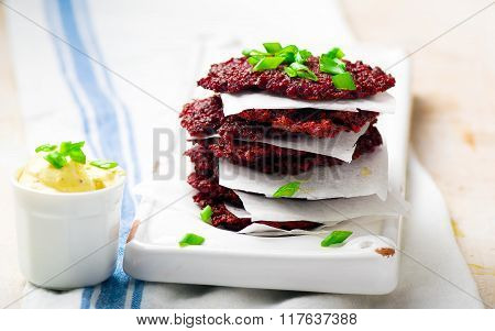 Beet Fritters With Sauce
