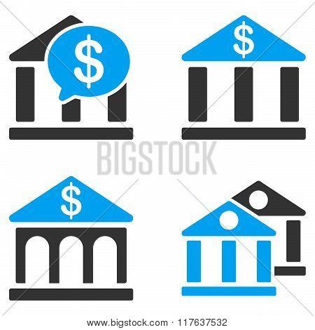 Bank Buildings Flat Bicolor Vector Icons