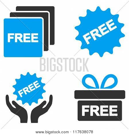 Free Gifts Flat Bicolor Vector Icons