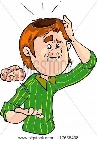 Vector Illustration Of A Brainless Man