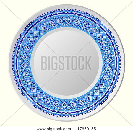 decorative plate for interior design - blue ornament. Vector illustration. round ornament of embroidered good like handmade cross-stitch ethnic Ukraine pattern.