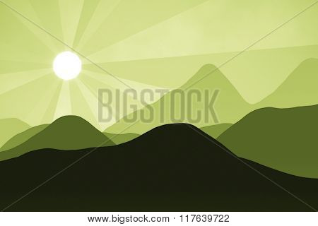An abstract green landscape background graphic with sun