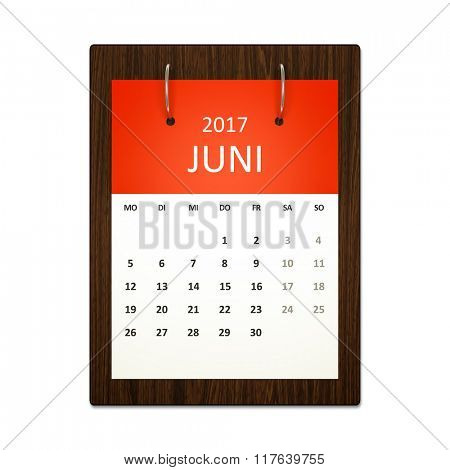 An image of a german calendar for event planning 2017 june