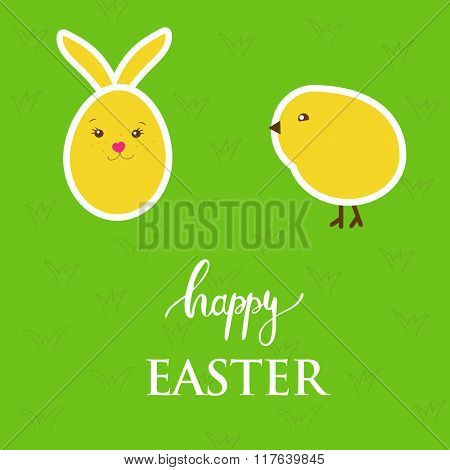 Vector easter card with  egg, rabbit, chick on green grass background.