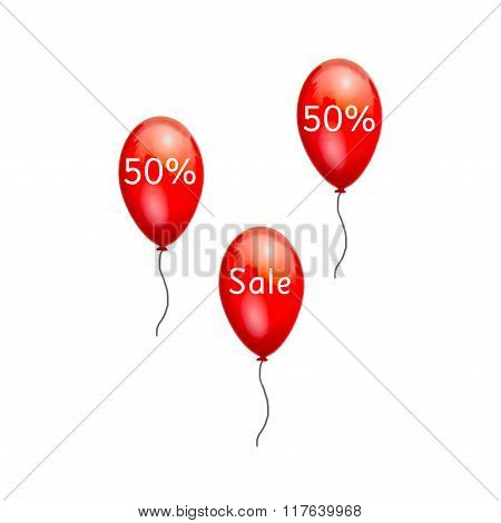 Fun balloons advertising the sale at low prices 50%.