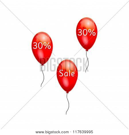 Fun balloons advertising the sale at low prices 30%.