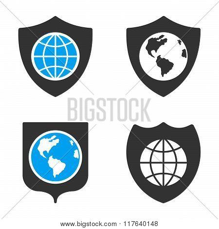 Earth Shield Flat Bicolor Glyph Icons