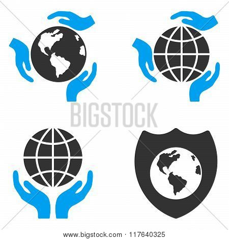 Global Protection Flat Bicolor Glyph Icons