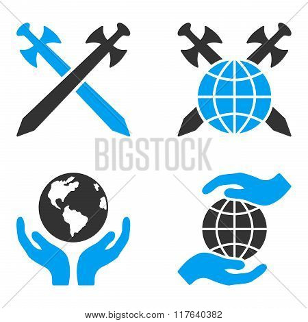 Global Safety Flat Bicolor Glyph Icons