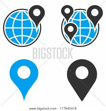 GPS Map Markers Flat Bicolor Glyph Icons