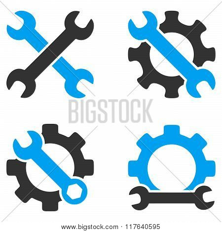 Repair Tools Flat Bicolor Glyph Icons