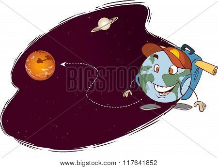 Vector Illustration Of A Different Planets Trip