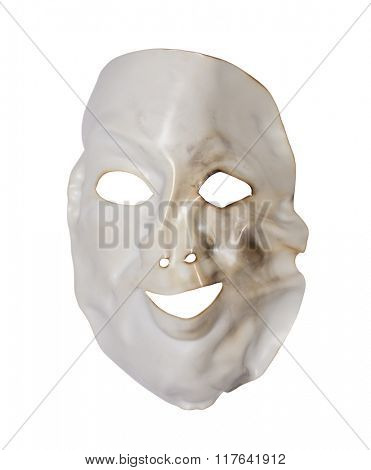 White deformed mask isolated on white with clipping path