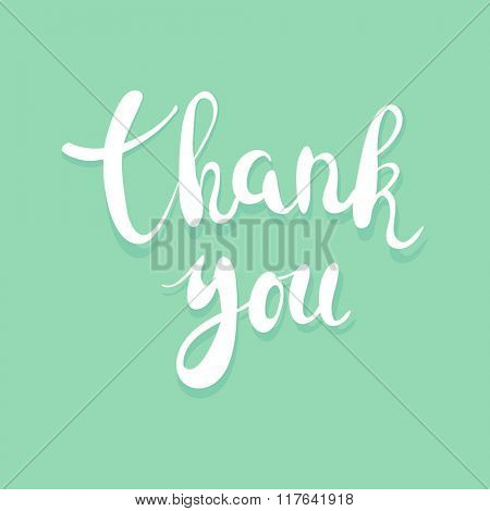 Thank you handwritten calligraphy vector illustration, White brushpen lettering phrase on greenbackground