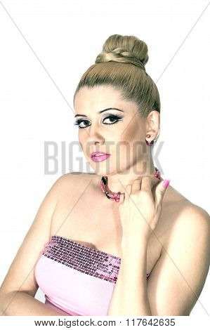 Portrait Of The Beautiful Woman In A Make-up, And In Pink