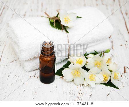 Massage Towels And Jasmine Flowers