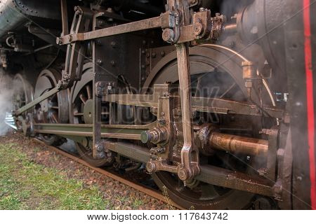 The mechanical part of the steam train on tracks
