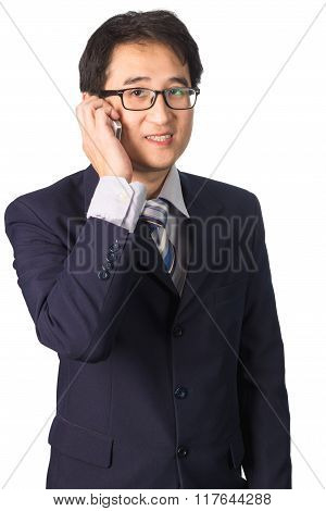 Asian Businessman With Mobile Phone In Hand Isolated On White Background.