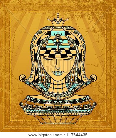 Chess Zen-tangle Girl  blue gold with grunge