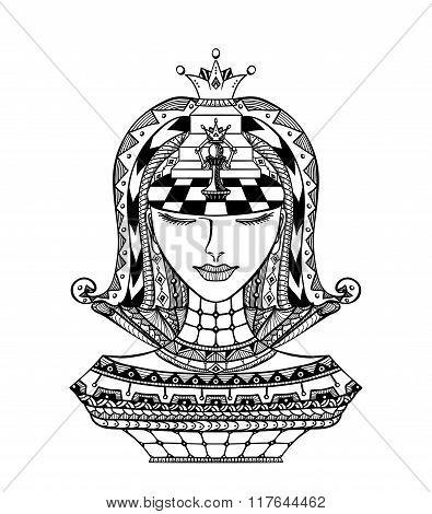 Chess Zen-tangle Girl  black on white
