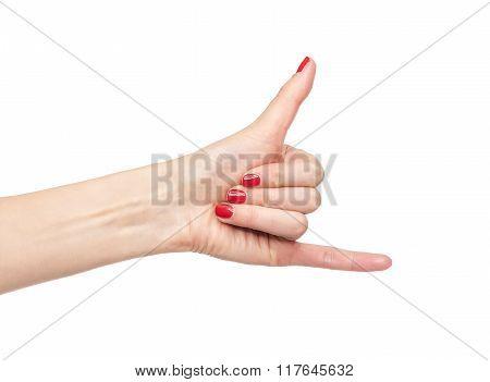Female hand phone call sign.