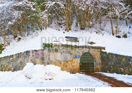 Entrance to the Salt mines of Sel des Alpes of Bex in Switzerland in winter. The Salt Mining Complex is listed as Swiss heritage site of national significance.