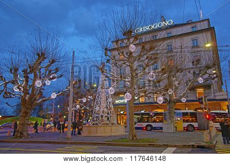 GENEVA SWITZERLAND - DECEMBER 31 2009: Street view of Geneva City center in Switzerland in winter. Geneva is the second most populous city in Switzerland. It is the capital of the canton Geneva