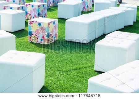 Artificial Grass And Sofa Outdoor Background
